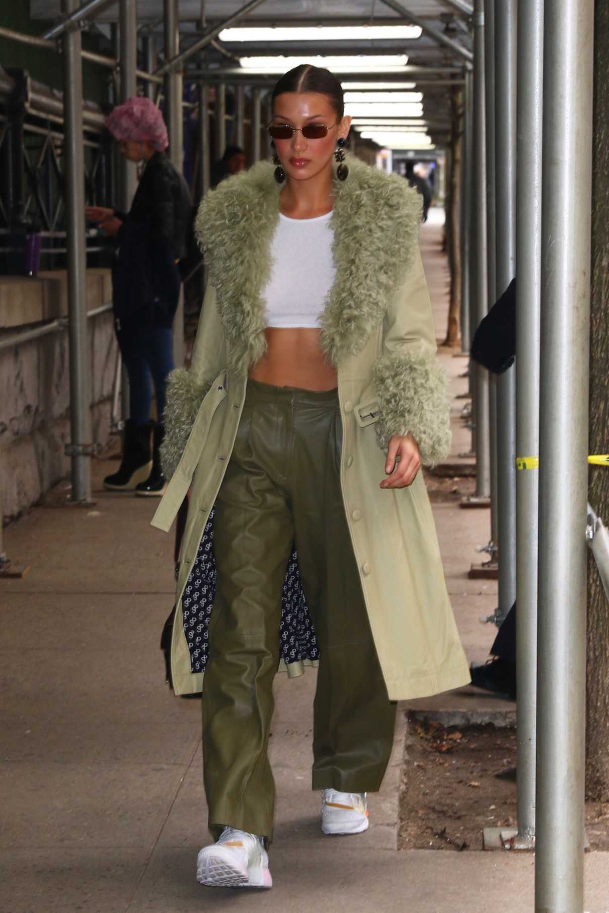 Bella Hadid in a Beige Leather Coat