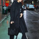 Bella Hadid in a Black Trench Coat