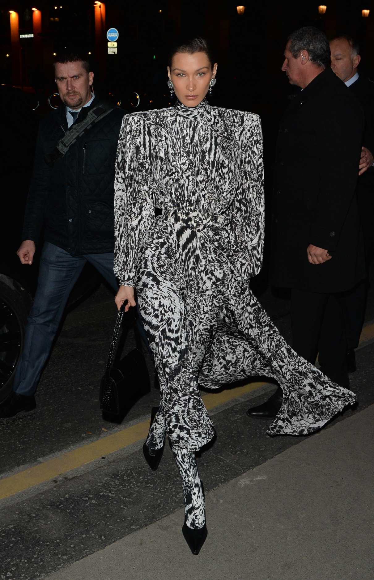Bella Hadid in a Gray Animal Print Dress