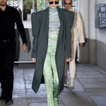 Gigi Hadid in a Green Suit
