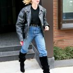 Hailey Bieber in a Black Leather Jacket