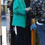 Hailey Bieber in a Green Blazer