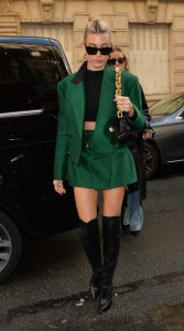 Hailey Bieber in a Green Suit