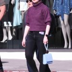 Joey King in a Purple Sweater Goes Shopping with Friends on Rodeo Drive in Beverly Hills 02/11/2020