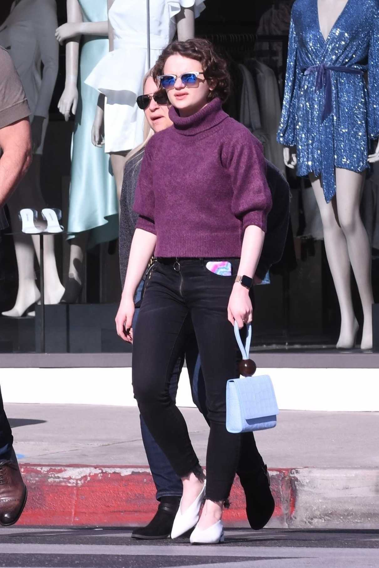 Joey King in a Purple Sweater