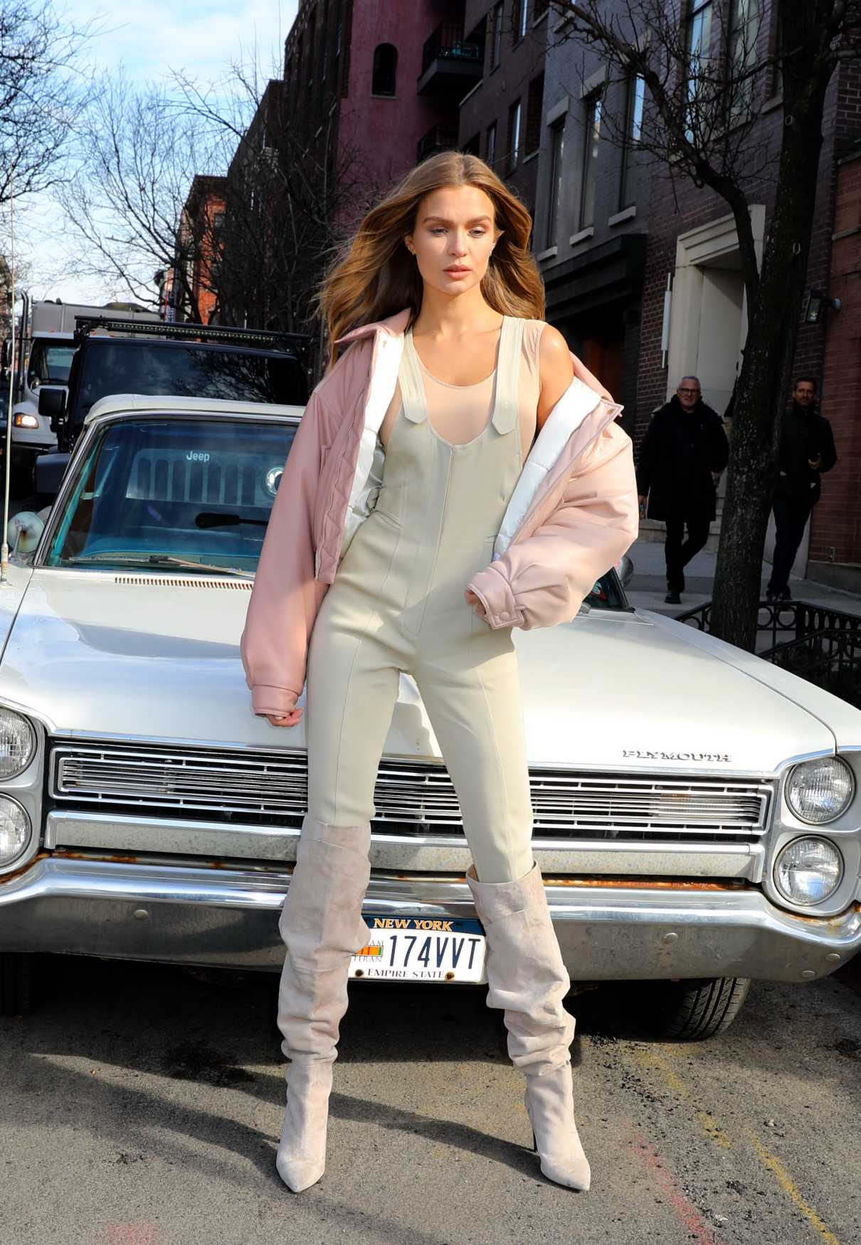 Josephine Skriver in a Beige Jumpsuit