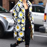 Karlie Kloss in a Floral Puffer Coat