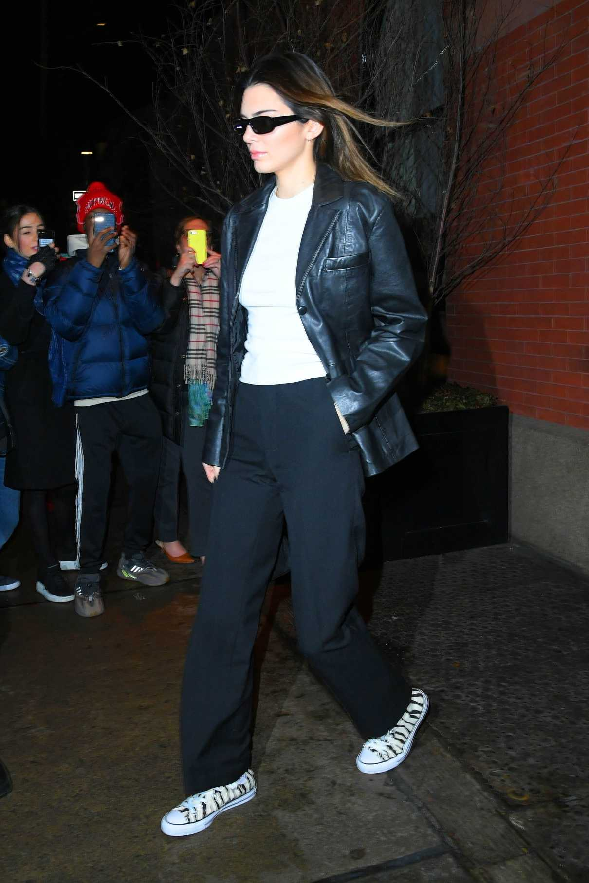 Kendall Jenner in a Black Leather Blazer