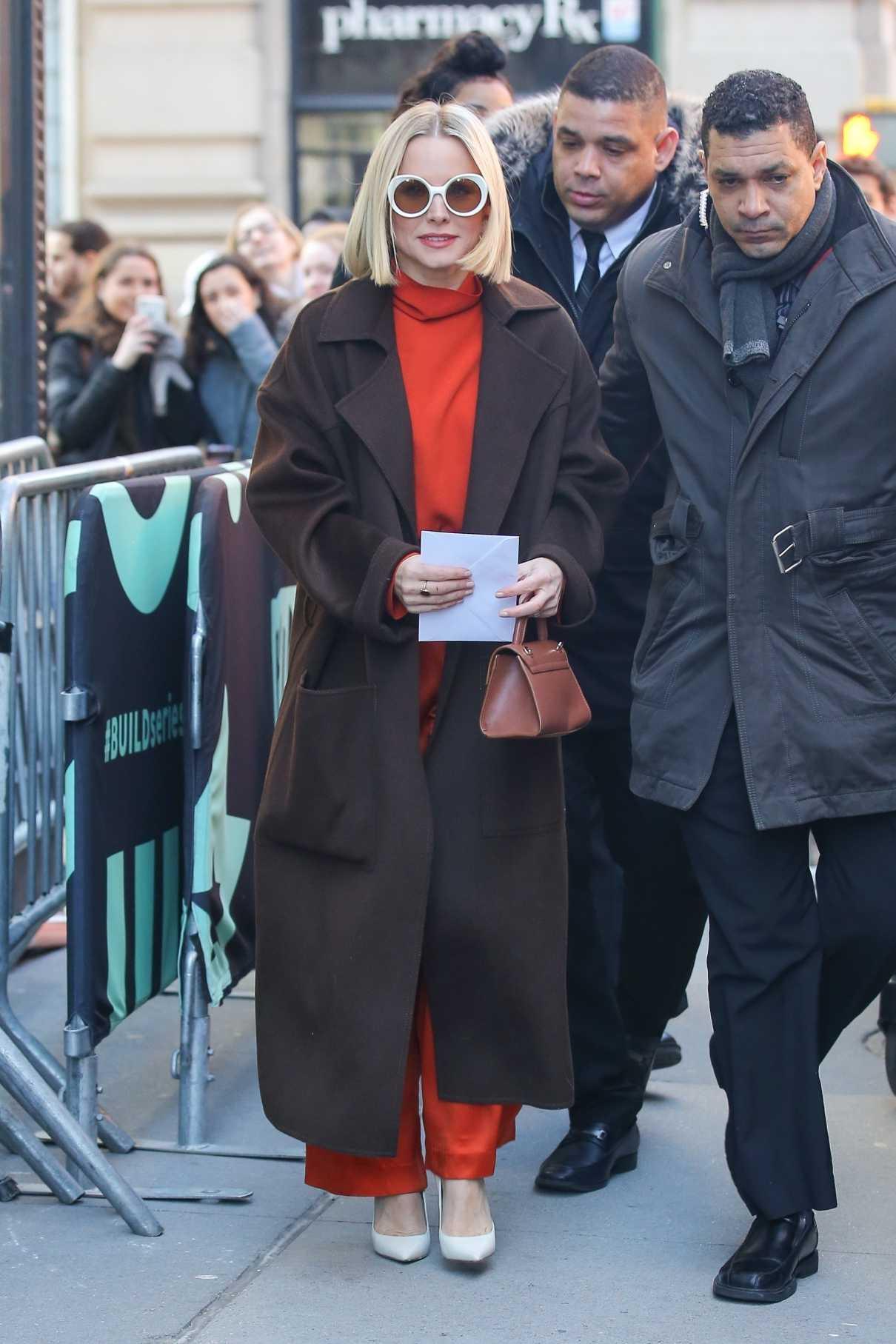Kristen Bell in a Brown Coat