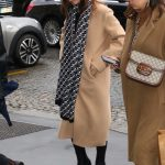 Lily Collins in a Tan Coat