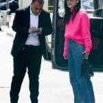 Cara Santana in a Pink Sweater Arrives for Lunch at the San Vicente Bungalows in West Hollywood 03/07/2020