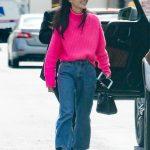 Cara Santana in a Pink Sweater