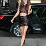 Emily Ratajkowski in a Sexy Satin Dress