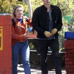 Florence Pugh in a Red Jacket Was Seen Out with Her Boyfriend Zach Braff in Los Angeles 03/21/2020