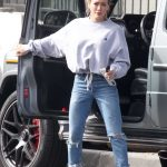 Hilary Duff in a Blue Ripped Jeans