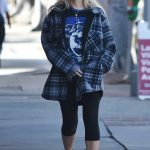 Holly Madison in a Plaid Jacket