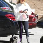 Malin Akerman in a White Sweatshirt Walks Her Dog at Griffith Park in Los Angeles 03/23/2020
