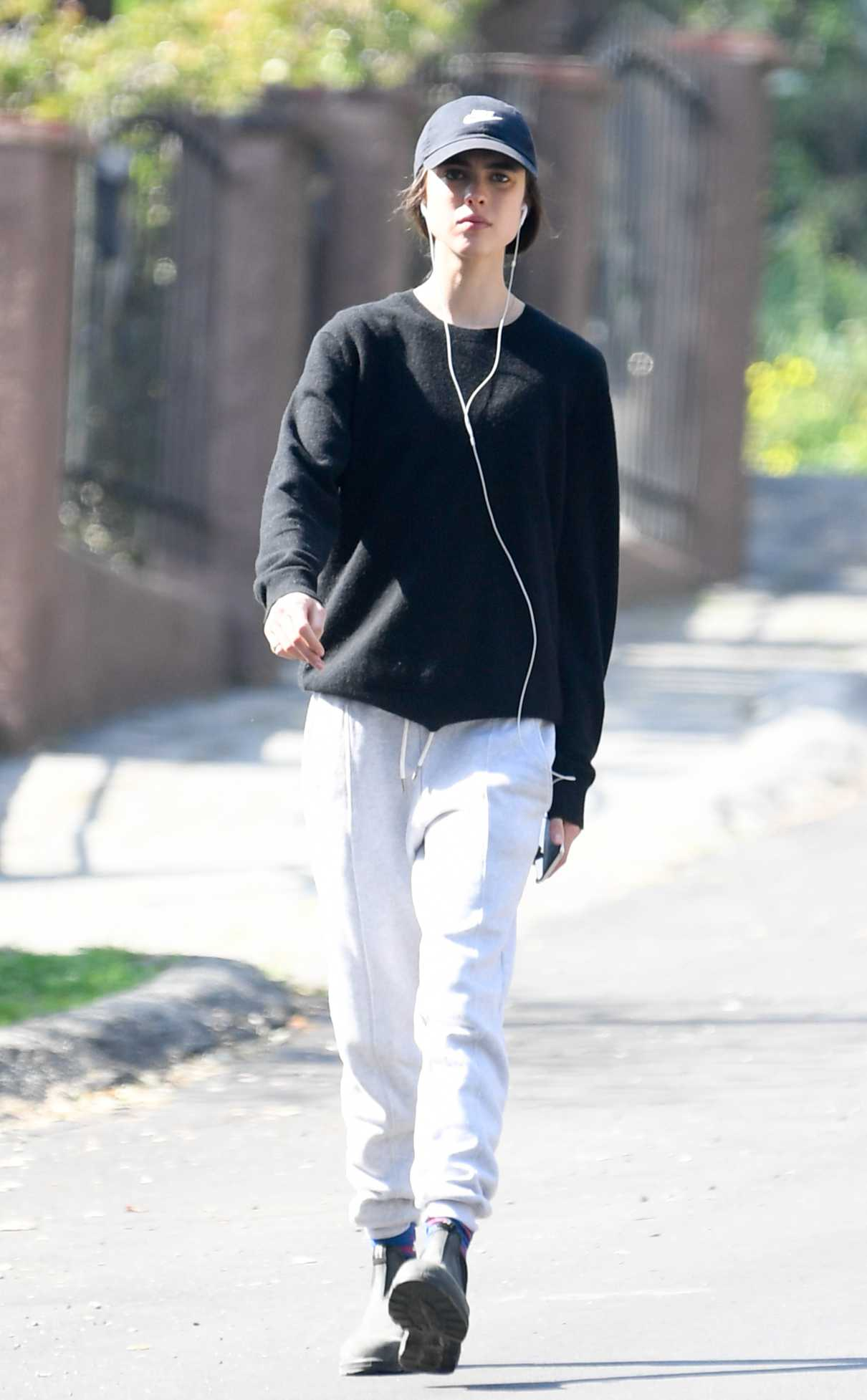 Margaret Qualley in a White Sweatpants
