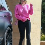 Sofia Richie in a Pink Sweater