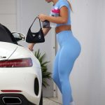Tammy Hembrow in a Blue Leggings