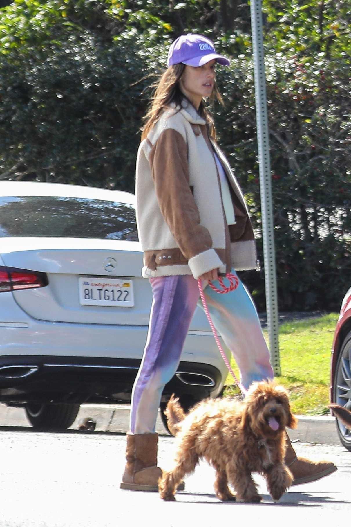 Alessandra Ambrosio in a Purple Cap