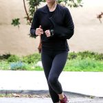 Ali Larter in a Gray Cap Enjoys a Morning Jog in Santa Monica 04/13/2020