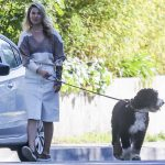 Ali Larter in a White Skirt Walks Her Dog in Pacific Palisades 04/17/2020