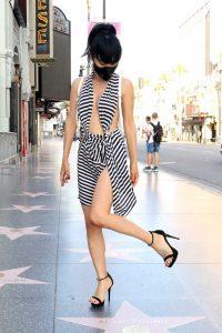 Bai Ling in a Striped Dress