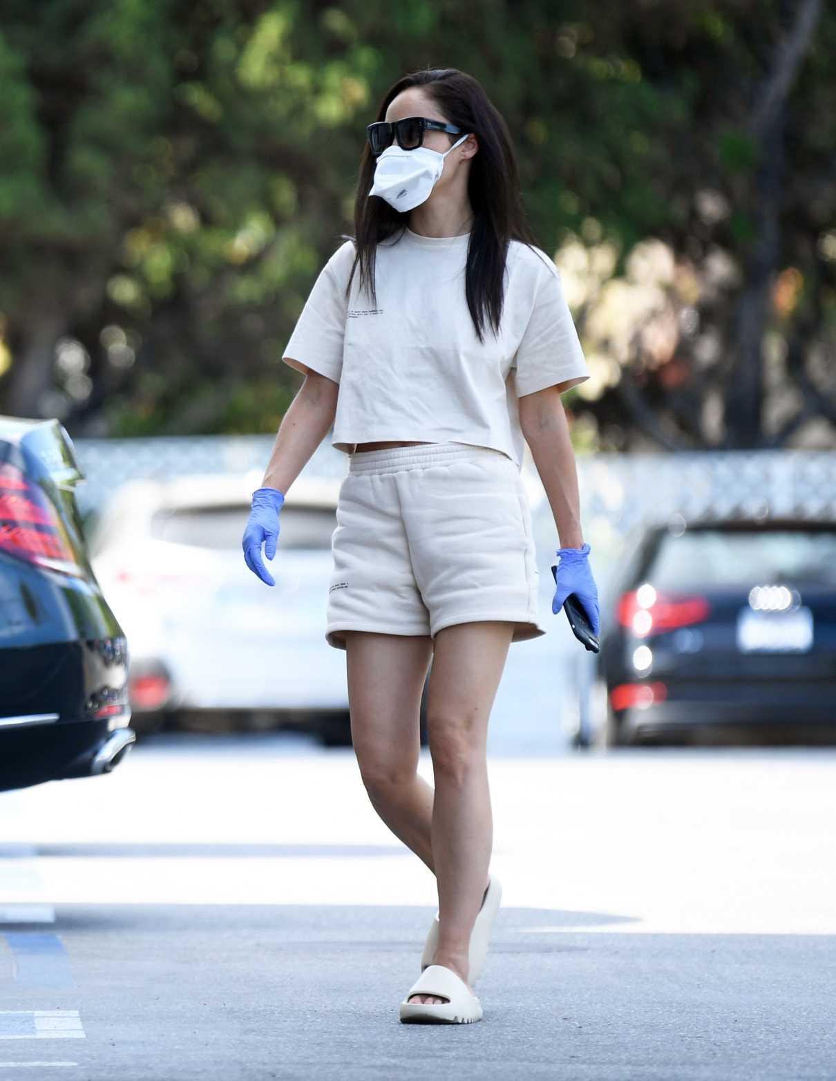 Cara Santana in a Face Mask