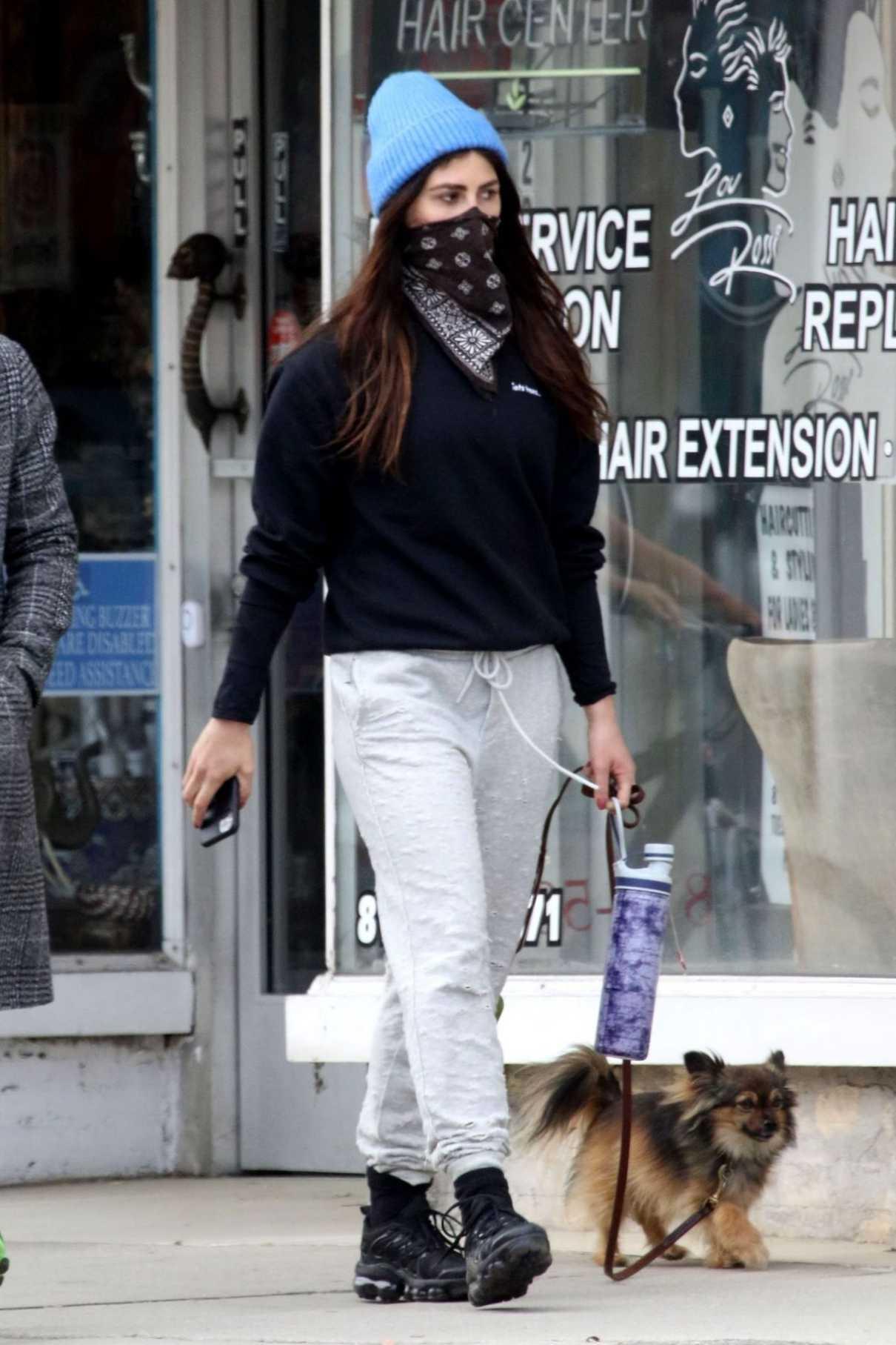 Emma Slater in a Blue Knit Hat