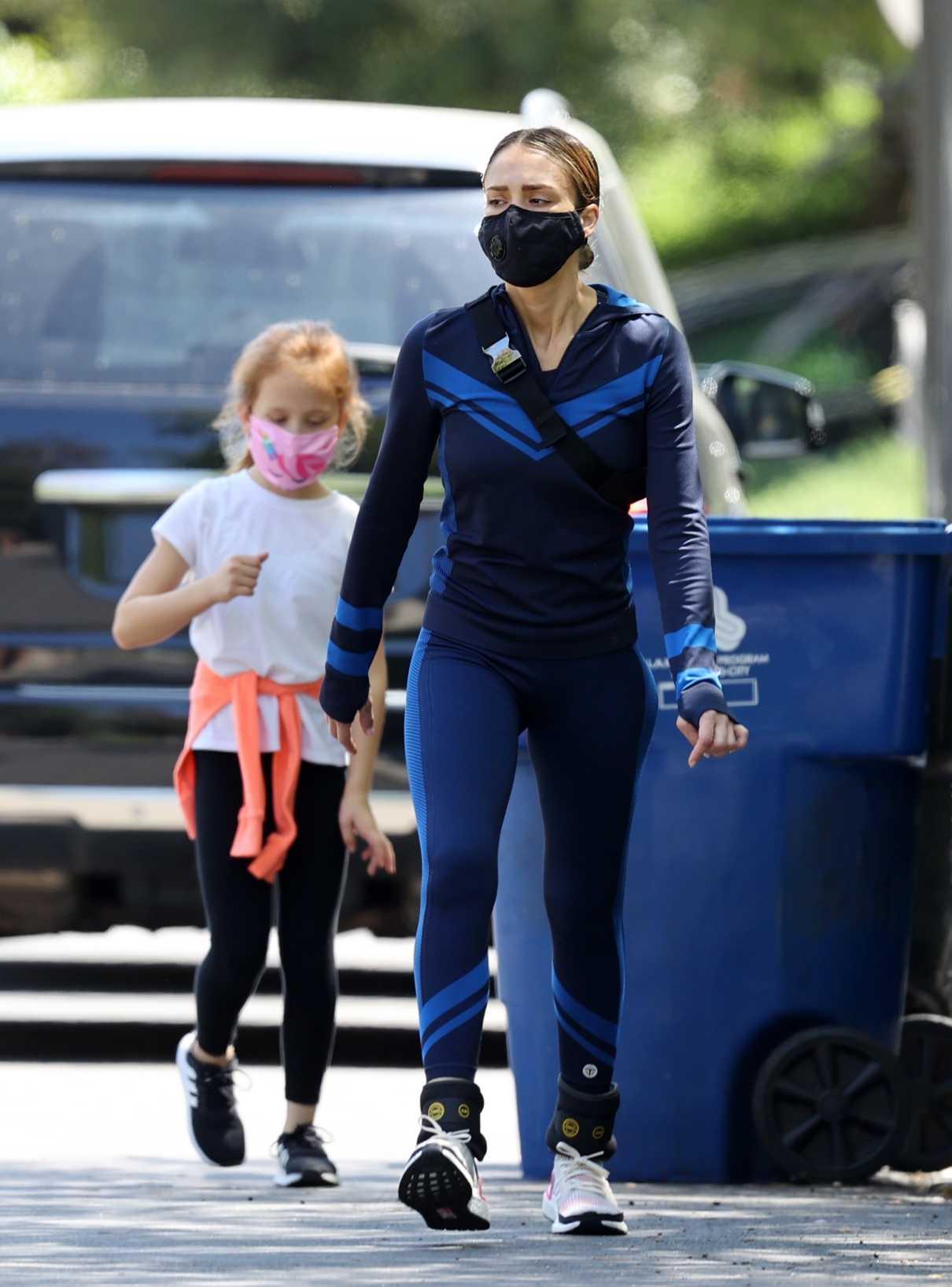 Jessica Alba in a Black Face Mask