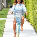 Kelly Bensimon in a Blue Bikini Does a Bike Ride at Her Home in Palm Beach 04/05/2020