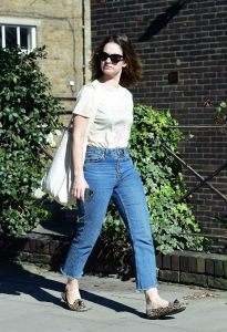 Lily James in a Beige Tee