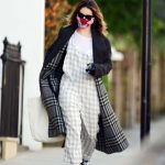 Lily James in a Black Coat Was Seen Out in London 04/09/2020