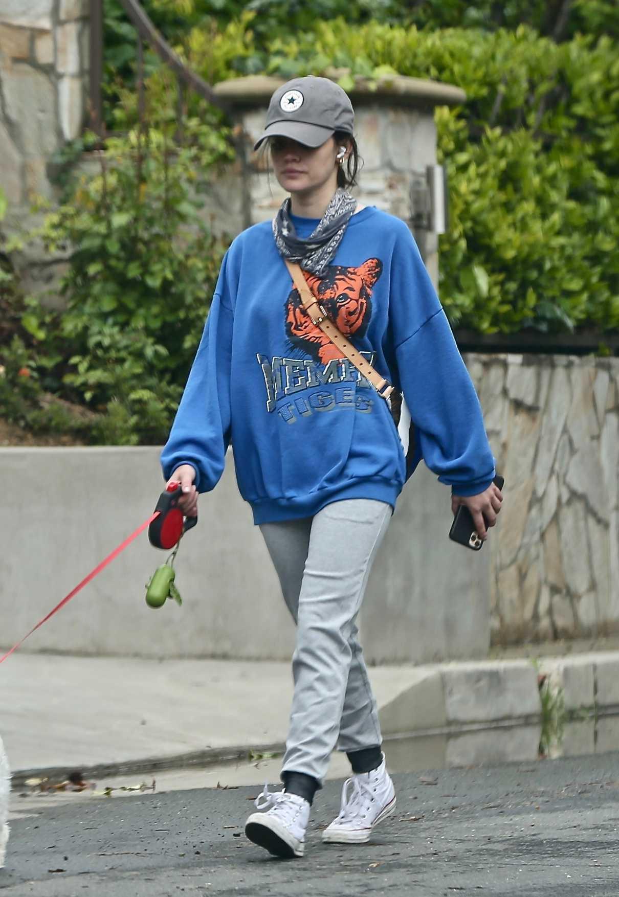 Lucy Hale in a Blue Sweatshirt