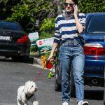 Lucy Hale in a Striped Sweatshirt