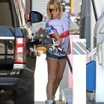 Ashley Benson in a Blue Daisy Duke Shorts