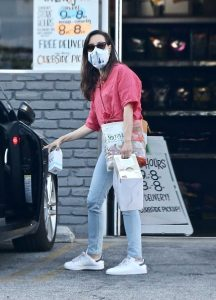 Aubrey Plaza in a Protective Mask