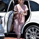 Elle Fanning in a Pink Summer Floral Dress Was Seen Out in Santa Monica 05/09/2020