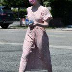 Elle Fanning in a Pink Summer Floral Dress