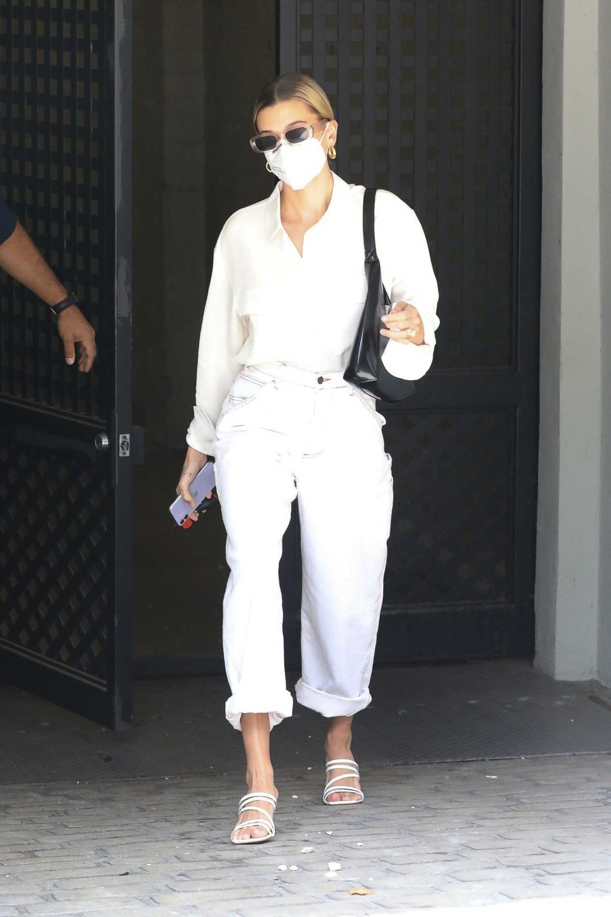 Hailey Bieber in a Protective Mask