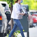 Julianne Moore in a Protective Mask