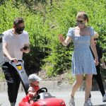 Kate Mara in a Short Blue Floral Dress Walks Out with Jamie Bell and the Kids in Los Angeles 05/25/2020