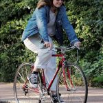 Lily James in a Blue Denim Jacket Does a Bike Ride Out with Matt Smith in North London 05/15/2020