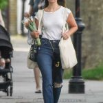 Lily James in a Blue Ripped Jeans Goes Shopping in North London 05/27/2020