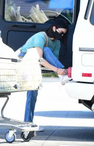 Lucy Hale in a Black Protective Mask