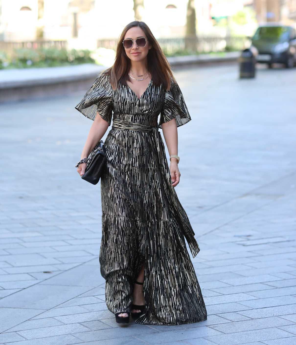 Myleene Klass in a Gray Metallic Dress