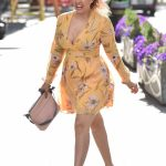 Pandora Christie in a Yellow Floral Dress Arrives at the Global Studios in London 05/11/2020