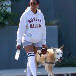 Regina King in a White Hoody Walks Her Dog in Los Feliz 05/29/2020