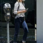 Robin Wright in a Striped Long Sleeves T-Shirt